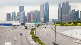 Time lapse del tráfico de Singapur Marina Coastal Expressway almacen de metraje de vídeo