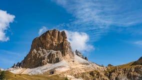Time Lapse of Dolomites mountain Averau with small white cloud Italy stock footage