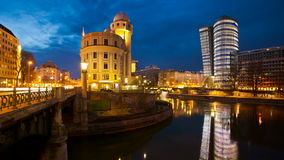 Time lapse of the Donaukanal (Danube Canal) of Vienna, Austria stock video footage
