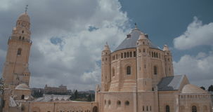 Time lapse of the dormition Abbey in old city Jerusalem stock video