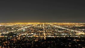 Time Lapse of Downtown LA City Grid at Night - Clip 1 stock video footage