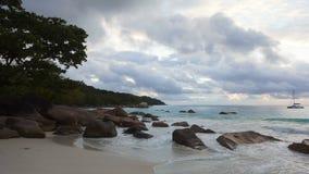 Time lapse of dramatic coastline at Anse Lazio, Seychelles. Time lapse of dramatic coastline at Anse Lazio, Praslin island, Seychelles stock footage