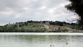 Time lapse of dramatic fast moving clouds over Belgrade with river Sava. stock video footage