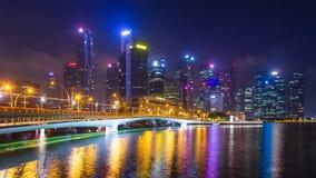 Time Lapse du paysage urbain 4K de nuit de Singapour clips vidéos