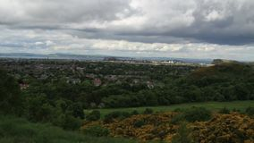 Time lapse of Edinburgh from a distance as the clouds roll by stock footage
