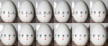 Time Lapse Egg Clock. Time laps shoot of 12 egg clocks counting down Royalty Free Stock Image