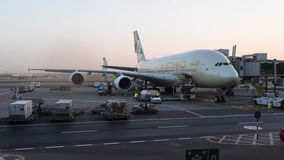 Time lapse of Etihad airliner being maintained at Abu Dhabi airport. 12.12.2015 stock video footage
