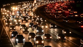 Time Lapse of Evening Rush Hour Traffic in Los Angeles stock video footage