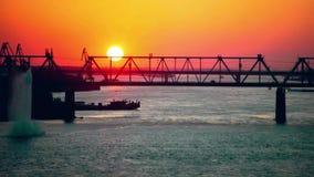 Time lapse of evening sunset near the railway. Bridge. 4k stock video
