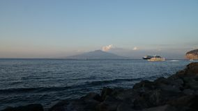 Time lapse, evening, View from the port of Sorrento, on the volcano Vesuvius, Naples stock video