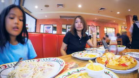 Time lapse of family dinner stock video footage