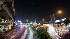 Time lapse of a famous roundabout intersection near Victory Monument, Bangkok, Thailand. Night time lapse of a famous roundabout intersection near Victory stock footage