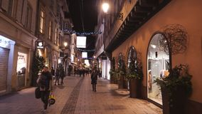 Time lapse fast motion POV on Strasbourg central street with pedestrians. Strasbourg, France - circa 2018: POV walking on the illuminated Rue de Hallebardes and stock video