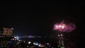 Time Lapse Firework Festival Over Pattaya City Beach Of Thailand stock video footage