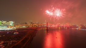Time Lapse of Fireworks Celebration Over City of Portland Oregon with the Completion of the Building of Tilikum Crossing 4k stock video footage