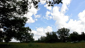 Time-lapse of flying clouds on the meadow stock video