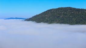 Time-lapse of fog in the morning with mountain at Khao Kho, Phetchabun, Thailand stock video footage