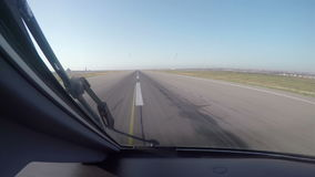 Time-lapse footage of Aircrafts cockpit view making an takeoff at the airport. stock video footage