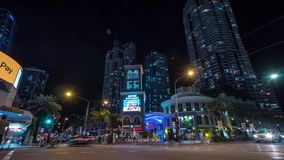 Surfers Paradise, Australia - Feb 23. 2019. Time lapse footage of the corner of Elkhorn Avenue and Surfers Paradise Blvd at night with sliding effect stock video footage