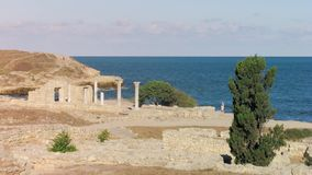 Time lapse footage ruins of an ancient civilization. Historical and archaeological reserve Peninsula of the Chersonese, Crimea, Ukraine stock video footage