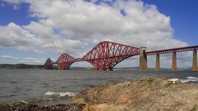 Time Lapse of the Forth Rail Bridge with foreground stock video