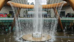 Time-lapse of the Fountain of Wealth, it is the famous place in Suntec City, Singapore stock video