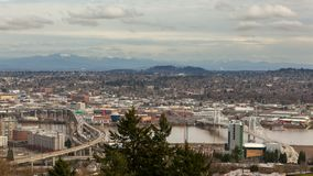 Time lapse of freeway traffic and clouds in Portland OR one winter day 4k stock video footage