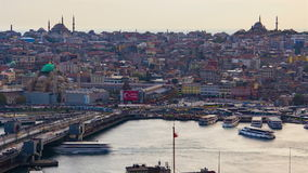Time lapse of Galata Bridge, Istanbul, Turkey stock video footage