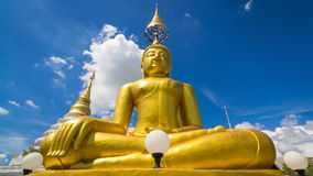 Time Lapse Gold Buddha Statue In Wat Chiang Yeun Temple Of Chiang Mai, Thailand And Beautiful Sky stock video