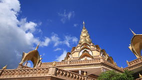 Time-lapse of gold pagoda in Wat Phra That Pha Son Kaew Temple at Phetchabun, Thailand stock footage
