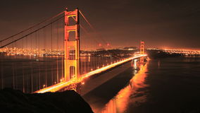 Time Lapse of the Golden Gate Bridge San Francisco at Night - Clip 3 stock footage