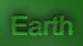 Time-lapse grass growth forming Earth text, Alpha Channel included, stock footage Royalty Free Stock Images