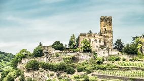 Time lapse of Gutenfels castle at Kaub in the famous Rhine Gorge north of Rudesheim stock video