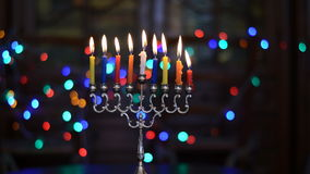 Time Lapse of Hanukkah Candles stock footage