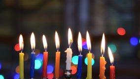 Time Lapse of Hanukkah Candles. Burning. Hanukkah Menorah Candles. Jewish Holiday
