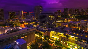 Time lapse Hawaii sunset. Moving time lapse of changing pink light at twilight of Waikiki cityscape in Oahu, Hawaii, United States. Sun setting to dark sky with stock video