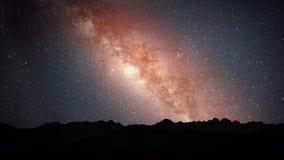 Time Lapse hermoso de la vía láctea con la lluvia de meteoritos almacen de video