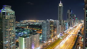 Time lapse on high light street in dubai. City stock footage
