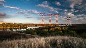 Time lapse, high-voltage power lines, energy industry stock video footage