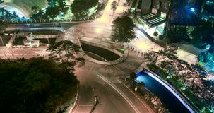Time lapse of highway roundabout at night. JAKARTA, Indonesia. November 23, 2017: Aerial footage time lapse of highway roundabout at night in Jakarta, Indonesia stock video footage