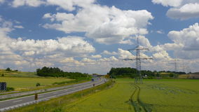 Time lapse of highway in sunny landscape. Transport in Germany, Europe. Times lapse of highway in sunny landscape. Transport in Germany, Europe. Clip contains stock video footage
