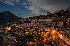 Time lapse of Hillside teahouses in Jiufen, Taiwan. Royalty Free Stock Image