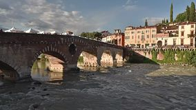The Roman Stone Bridge called Ponte Pietra 1st century A.C. in Verona Italy - 09/03/2017 stock video footage