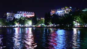 Time Lapse of Hoan Kiem Lake and Skyline at Night - Hanoi Vietnam stock video