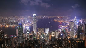 Time-lapse of Hong Kong city at night, view from The Peak. 4k Time-lapse of Hong Kong city at night, view from The Peak stock video