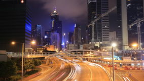 Time-lapse of Hong Kong city and traffic at night. 4k Time-lapse of Hong Kong city and traffic at night stock video