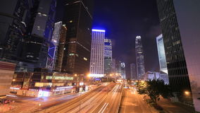Time-lapse of Hong Kong city and traffic at night. 4k Time-lapse of Hong Kong city and traffic at night stock footage