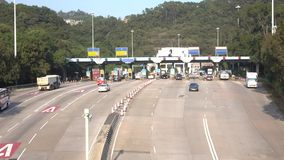 Time lapse of Hong Kong Tunnel, Toll Station at Lam Tin in Hong Kong. HONG KONG - DEC 16 2015: Time lapse of Hong Kong Tunnel, Toll Station at Lam Tin in Hong stock video footage