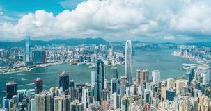 Time lapse of Hong Kong Victoria Harbour and blue sky background.