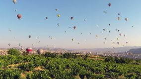 Time-lapse of hot air balloons adventure in Cappadocia stock video